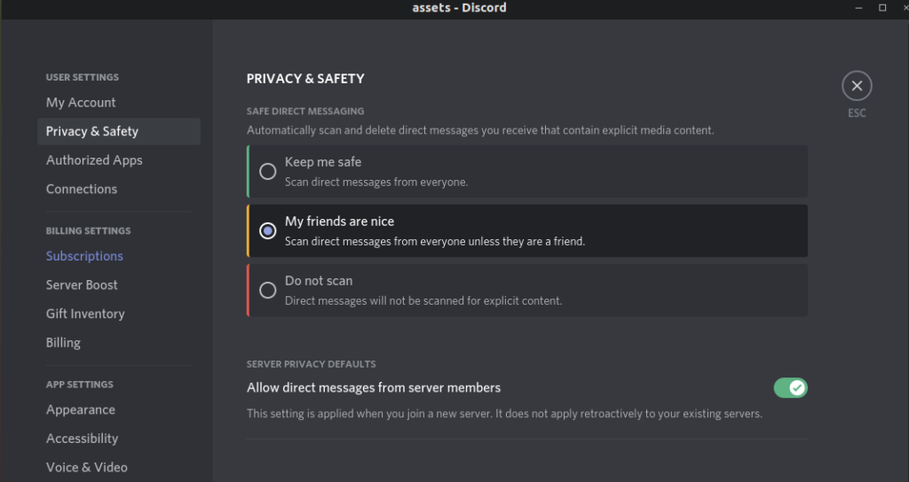 Changing Discord settings